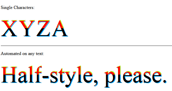 halfStyle - Horizontal Half Parts - With Text Shadow